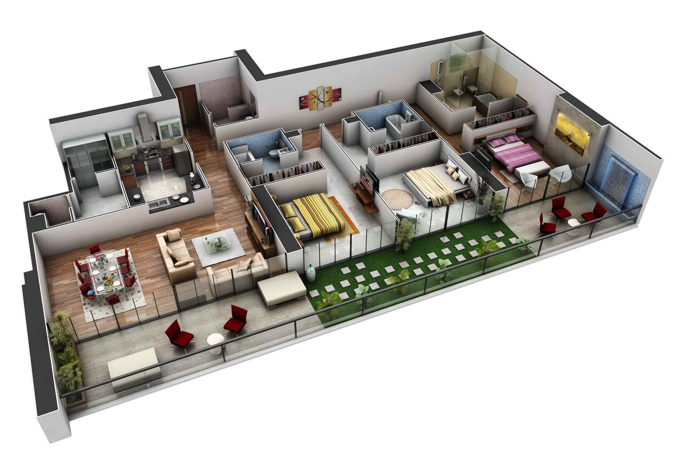 3 bedroom apartmenthouse plans - Three Bedroom House