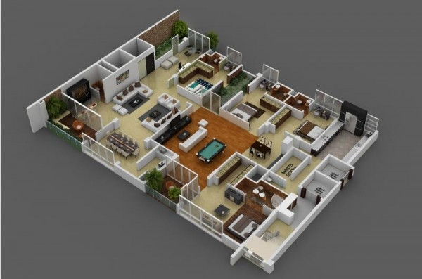 3d 4 Bedroom House PlanBedroomHome Plans Ideas Picture