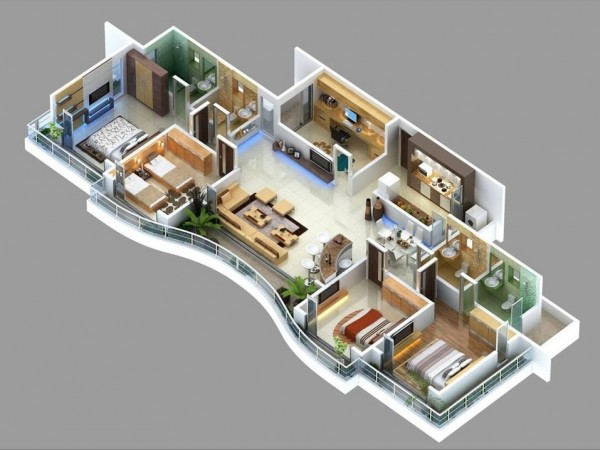 4 bedroom apartment house plans for Bathroom designs 12x8