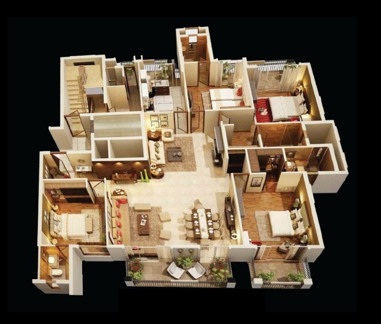 4 bedroom apartment house plans Hd home design 3d