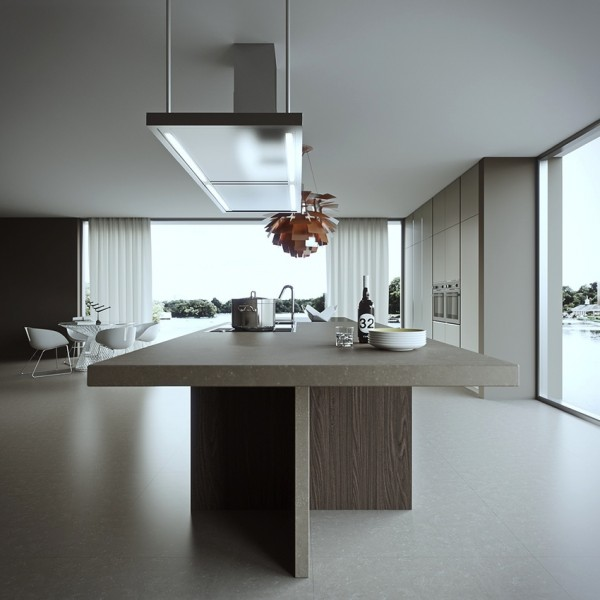 Creative overhead lighting in this kitchen from Delta Tracing gives the room a very mod feel.