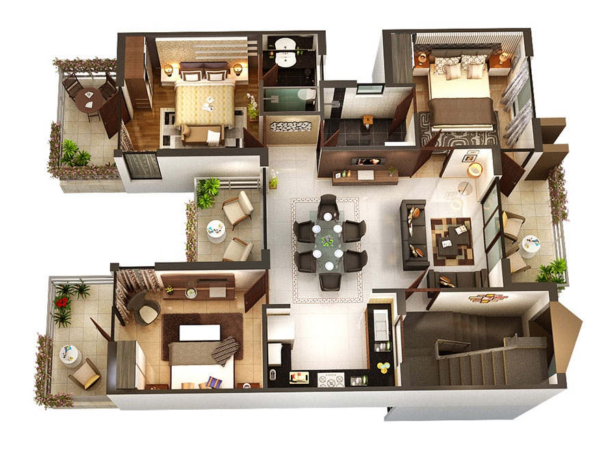 Smallhomeplanes 3d isometric views of small house plans for Three bedroom apartment layout