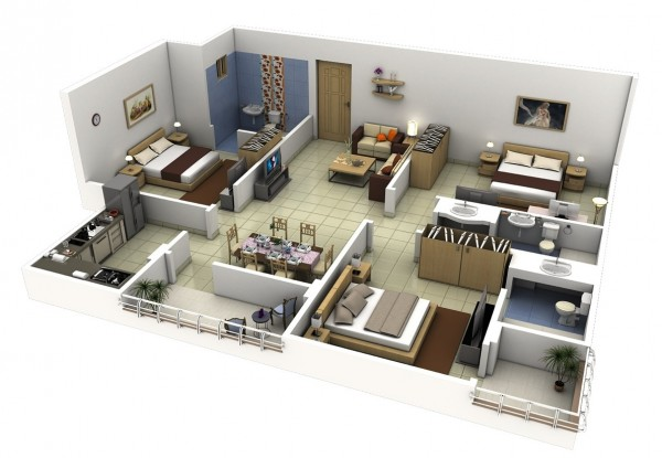 three bedroom house design