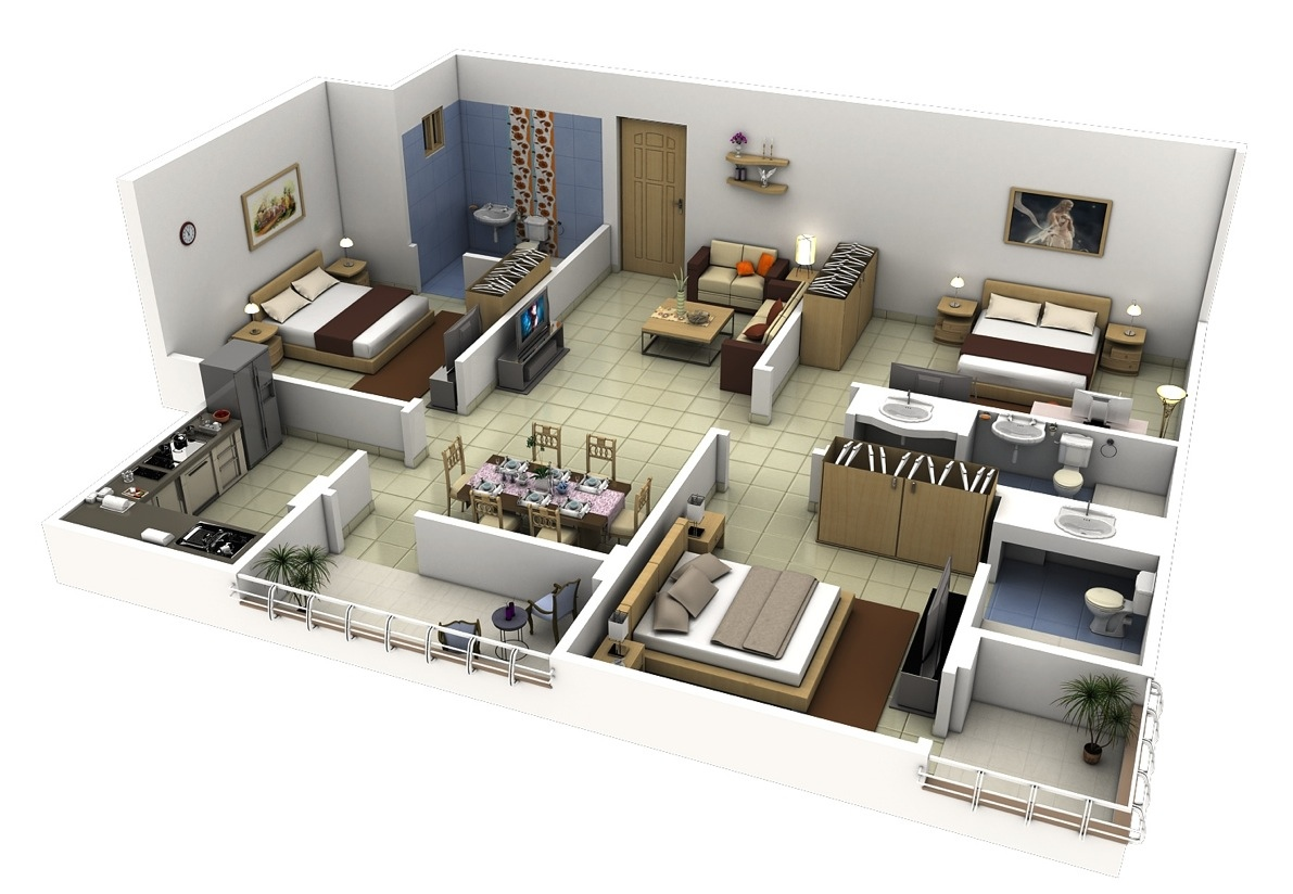 3 bedroom apartment house plans Diseno de habitaciones 3d