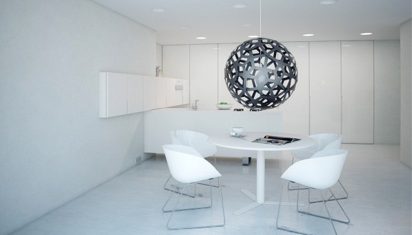 ultra minimalist white kitchen dining