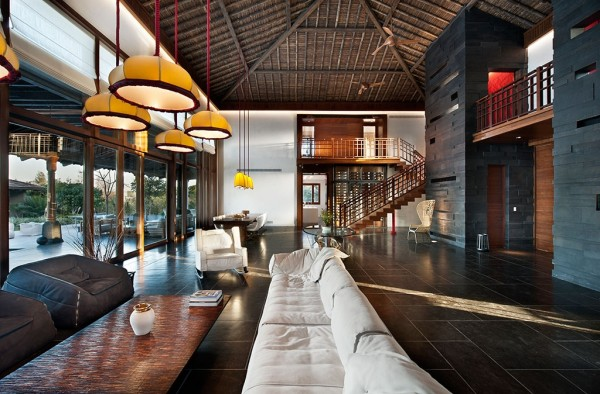The massively high ceilings and hanging lights give traditional Asian design elements a modern twist.