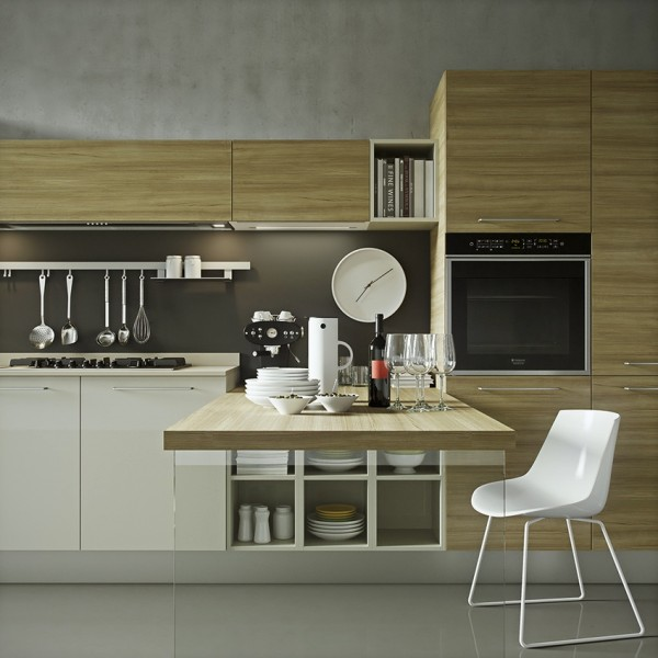 Not all bachelor's have space for a fully equipped gourmet kitchen, so this sleek design makes efficient and beautiful use of every square inch.