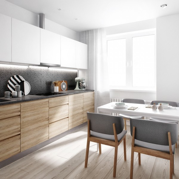 wood white kitchen lighting