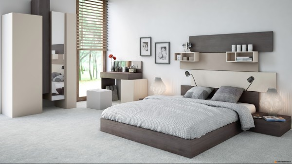 More neutral tones and a plush white carpet, complete with a personal vanity area, make this bedroom very inviting.