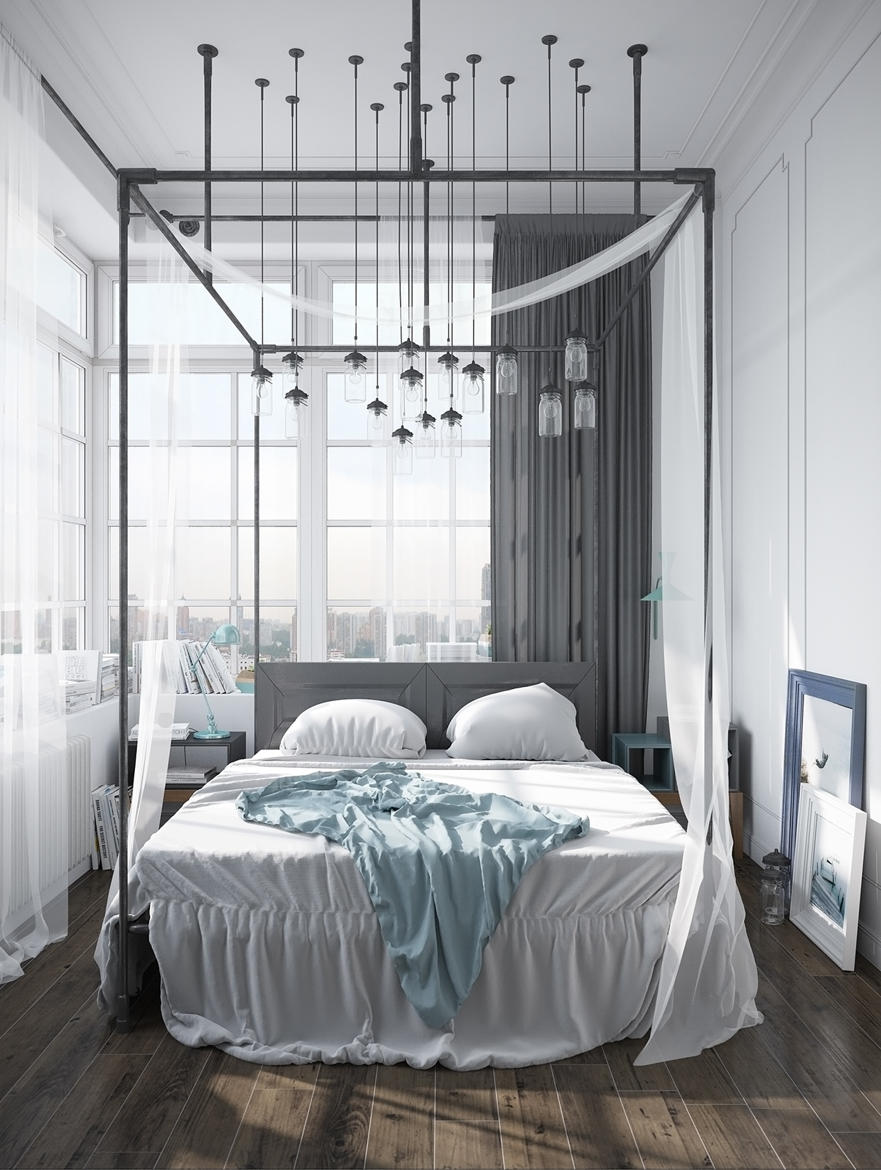 Awesome Canopy Bed - Stylish scandinavian apartment in murmansk