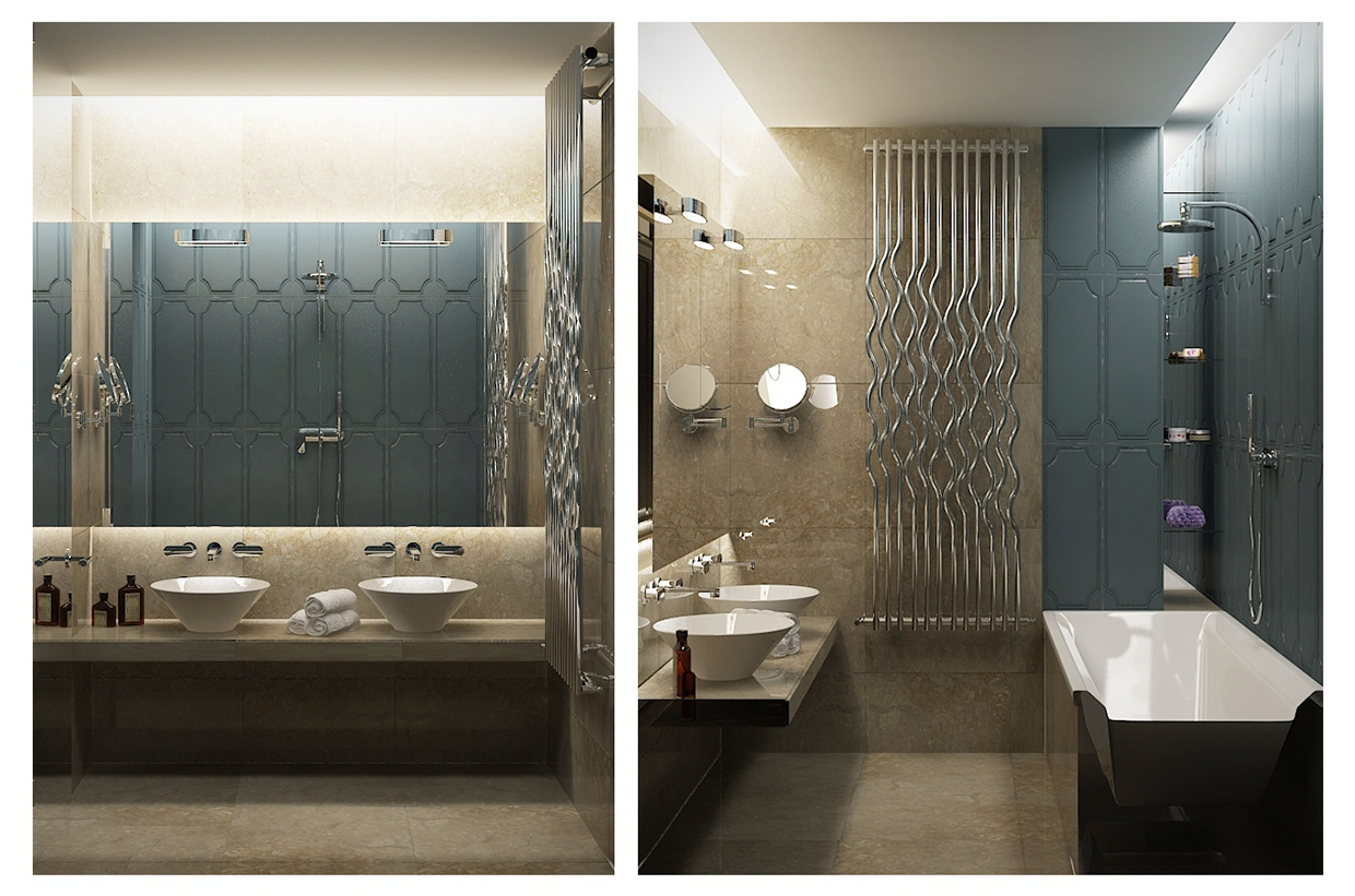 Bathroom Decor - Contemporary apartment design with classical features floor plans included