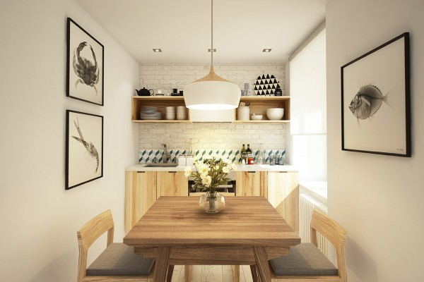 A small kitchen/dining area feels big with plenty of sunlight and white brick walls.