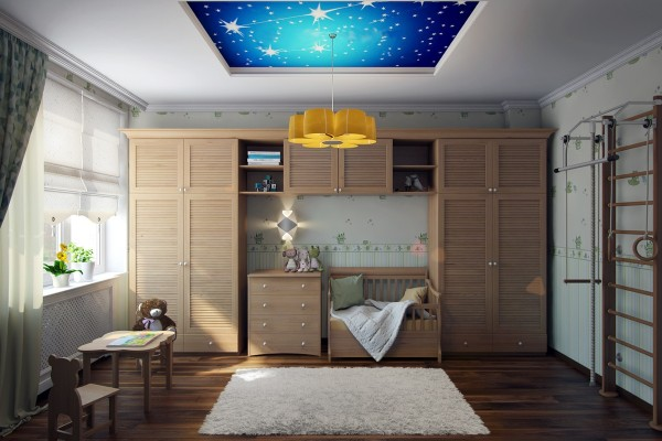 A beautiful paint job on the ceiling brings a bit of the night sky indoors in this nursery.