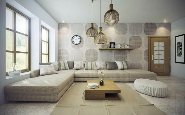 Just because a living room uses a lot of neutral colors doesn't mean it's boring. The cool pattern on the walls and funky light fixtures make sure of that here.