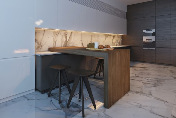 Finally, the breakfast bar and small kitchen play wood off of marble, using their complementary colors and textures to beautiful effect.