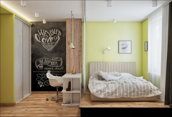 The bright green walls in this small bedroom, with an elevated bed, give it loads of personality.