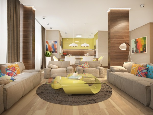 The open and airy living room gives a great sense of how the designer uses bright colors throughout the home, starting with the incredible coffee table.