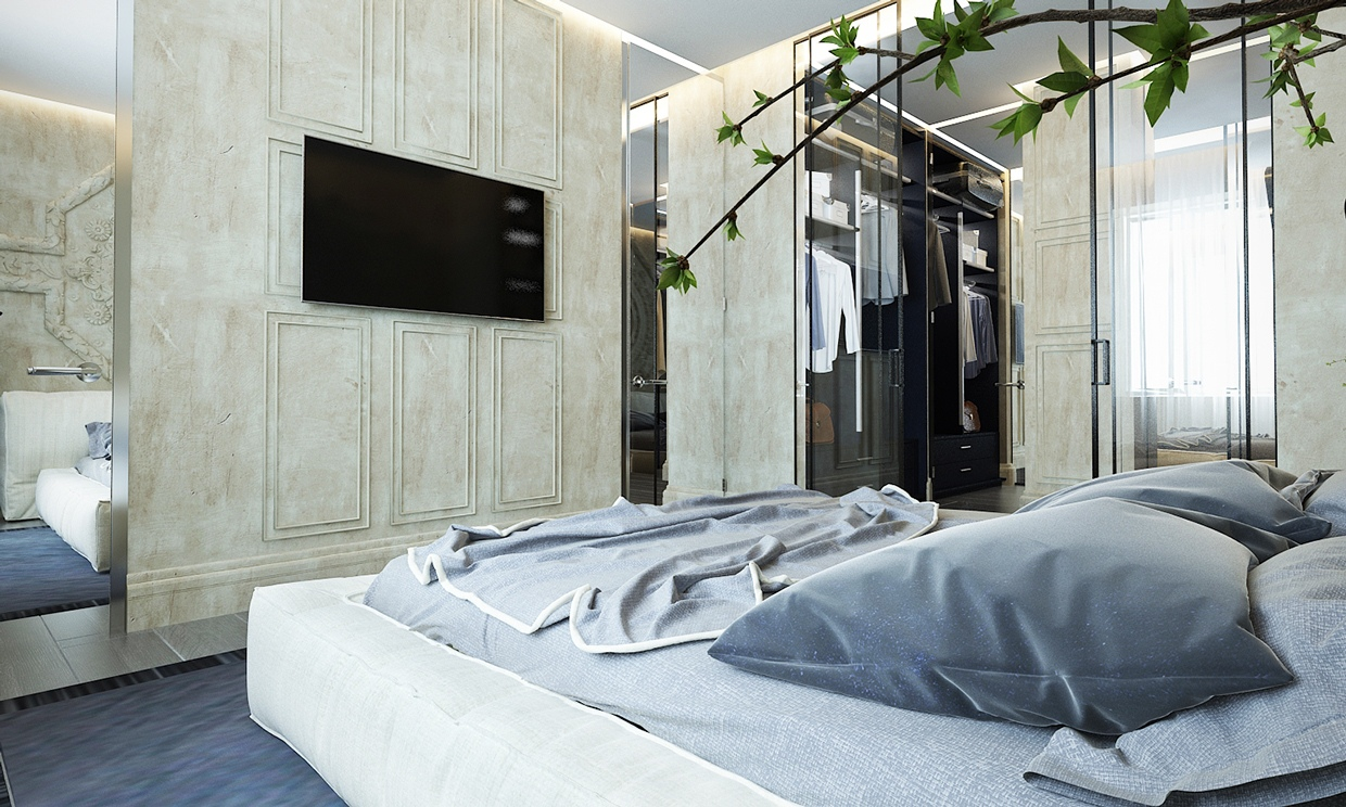Classic Bedroom - Contemporary apartment design with classical features floor plans included