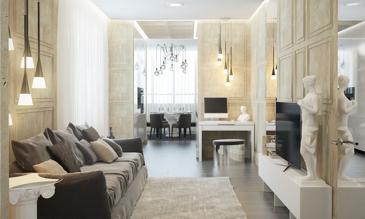 Contemporary apartment design with classical features for Modern style apartment