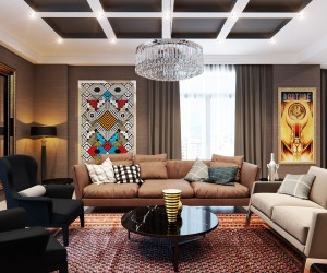 First, the living room is dominated by an array of patterns and colors, from two bright wall hangings to a geometric print rug.