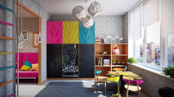 This spacious kids area has more than just beds, tarting with a large play and study area for smaller kids.