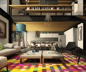The wild colors in this area rug are reminiscent of the pixels on a computer screen and make the whole space feel instantly modern and hip.