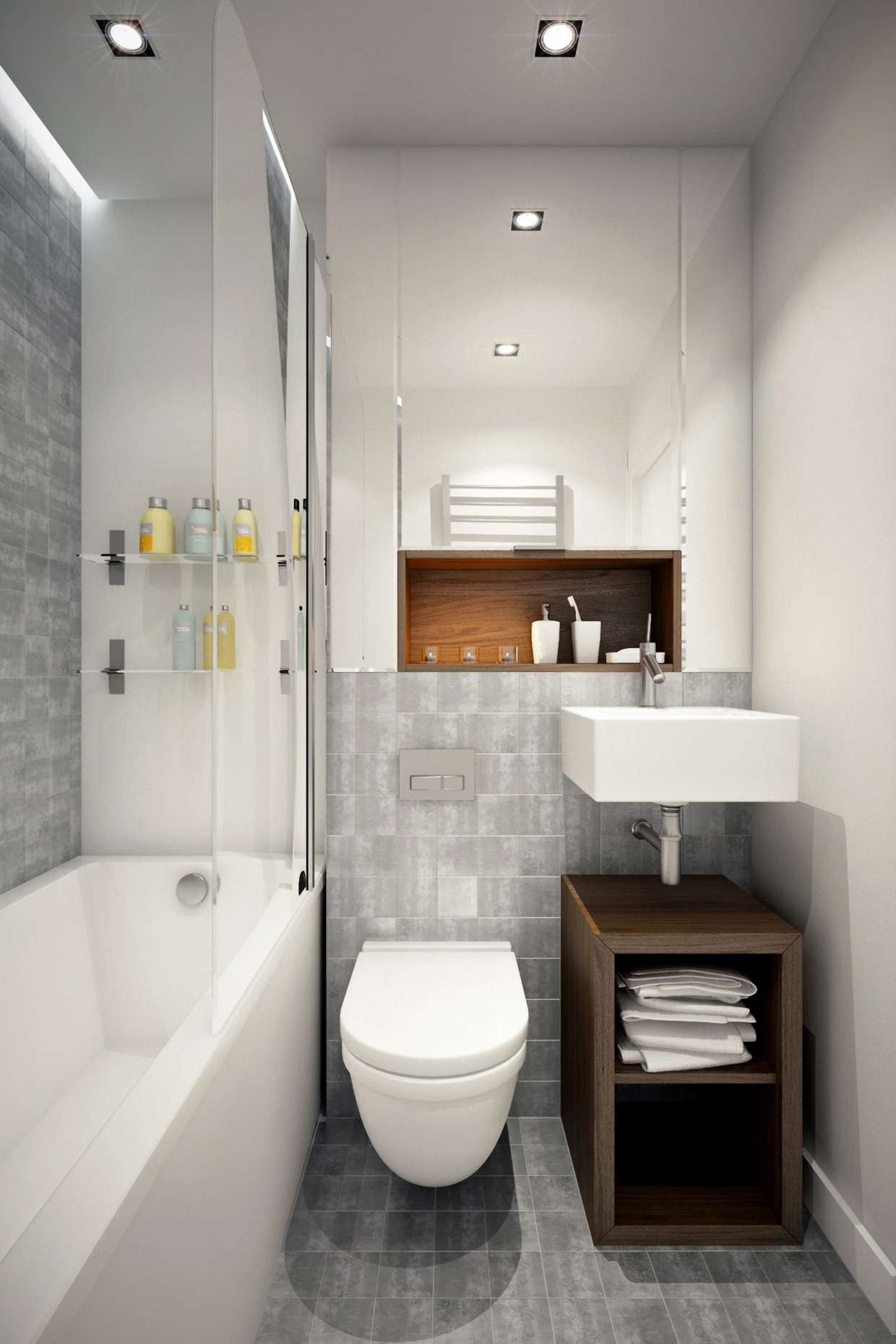 3 beautiful homes under 500 square feet for Cool small bathroom designs
