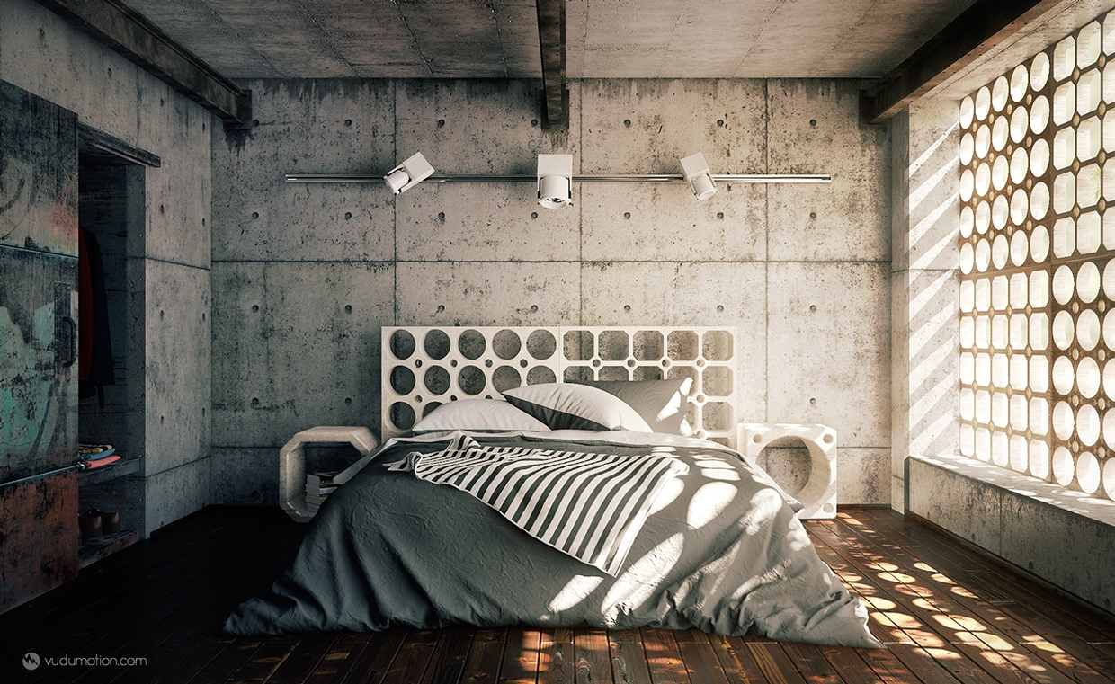the cement walls and cool window treatment in this industrial bedroom