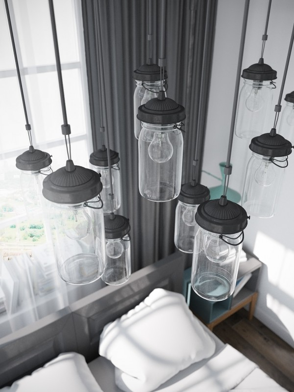 The Mason jar-inspired lighting is totally on trend.