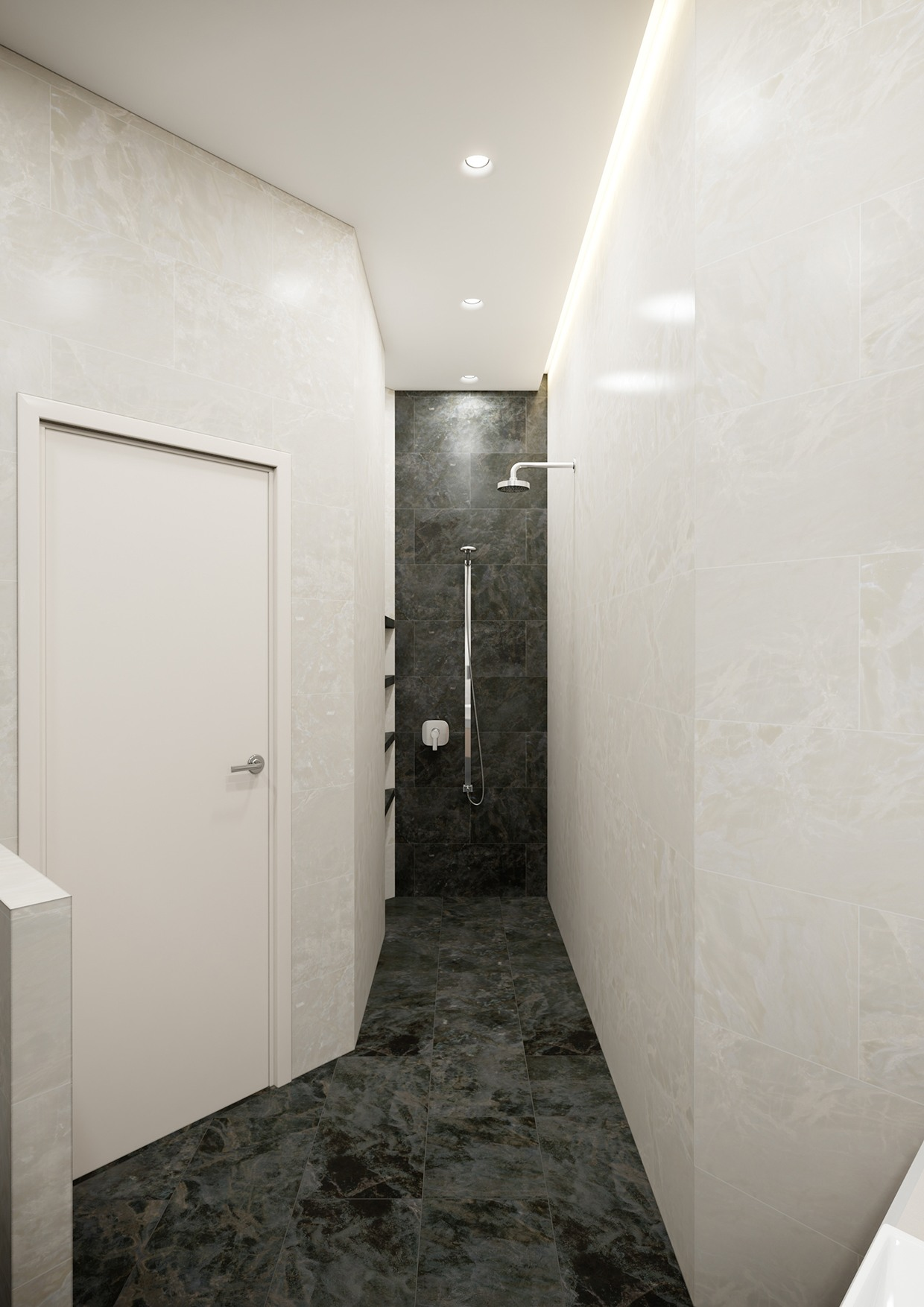 Cool Modern Shower - A stylish apartment with classic design features