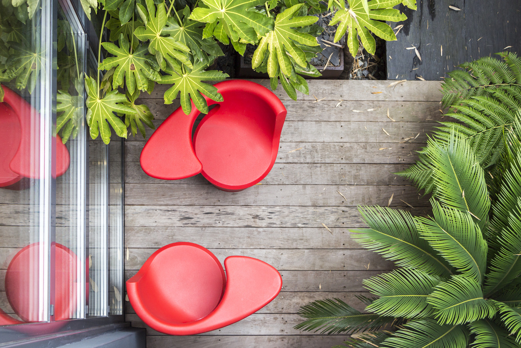 Cool Patio Furniture - Contemporary villa with splashing colors and courtyard