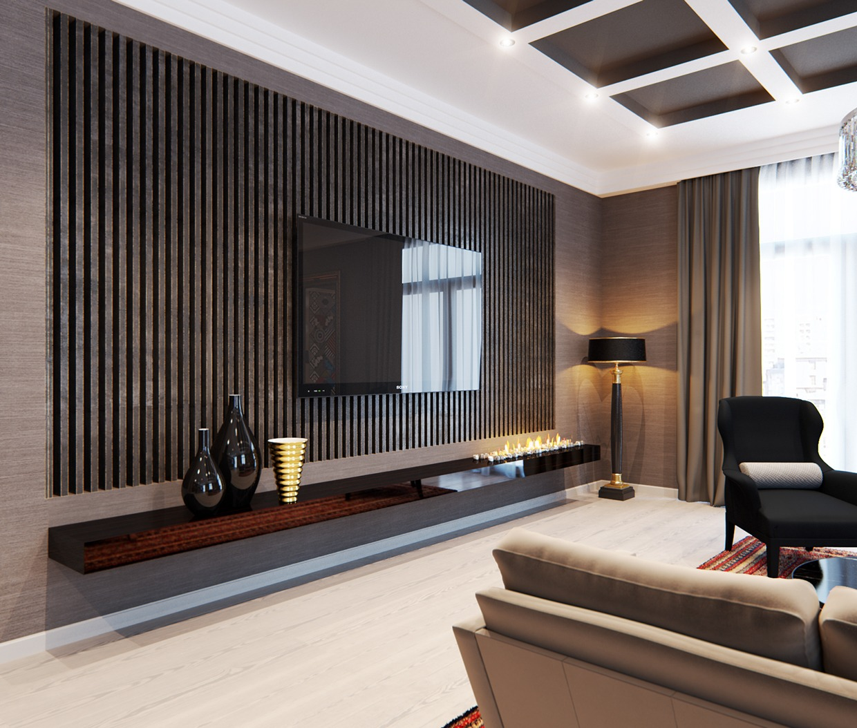 A stylish apartment with classic design features Wall panelling designs living room