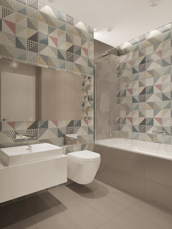In the bathroom we can see more fun patterns in this Scandinavian-inspired wallpaper.