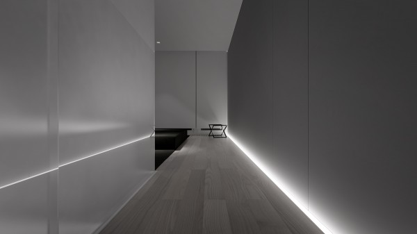Lighting recessed in the floor is modern and subtle.