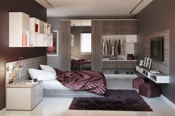 This small bedroom uses texture and reflection, to make the room feel comfortable and spacious.