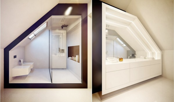 This space age bathroom makes use of a sharply angled ceiling.