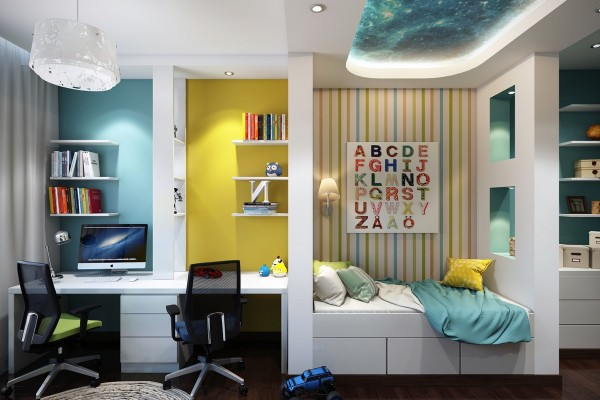 This next room is a little more subdued, but still features plenty of vibrant colors.