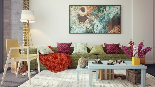 Pretty colors and soft fabrics beckon you to this living room sofa.