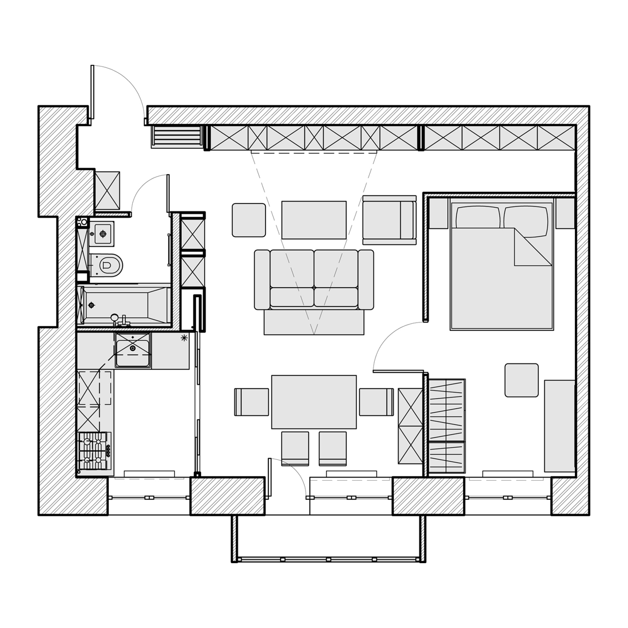 House plans 500 to 600 square feet for Interior design 600 sq ft flat
