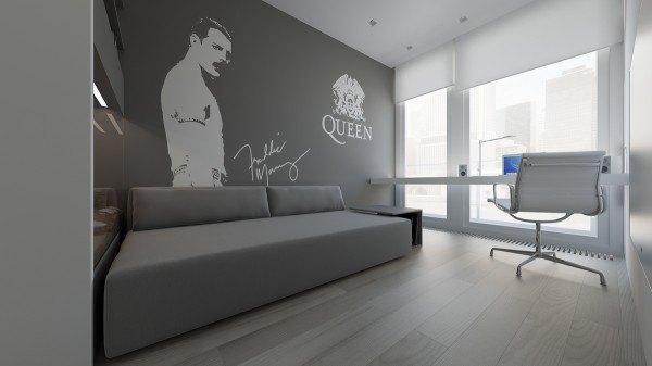 For a pop of personality, this room has a Freddie Mercury themed mural.