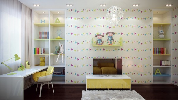 Playful triangle patterns on the wallpaper are reminiscent of flags dancing on the wind.
