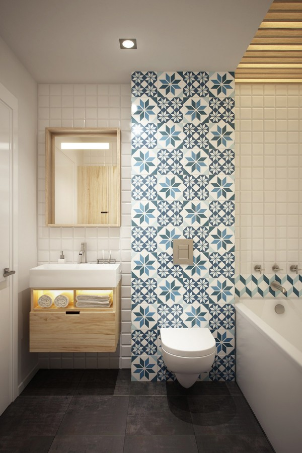 Geometric wallpaper in the bathroom really livens things up.