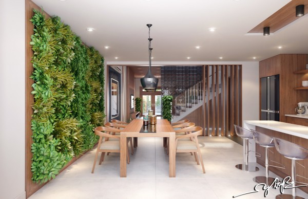 A massive vertical garden in the dining room is welcoming for guests and an instant conversation piece.