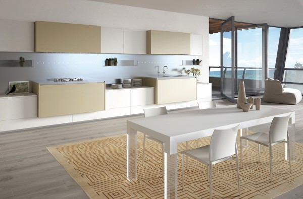 Another neutral option lets the practical elements of the kitchen itself all but disappear, highlighting beautiful views and open windows.