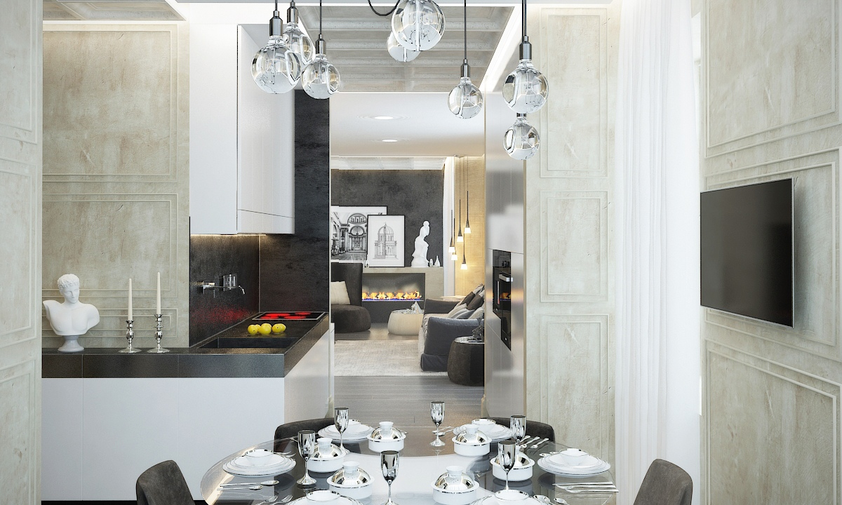 Glass Globe Light Fixture - Contemporary apartment design with classical features floor plans included
