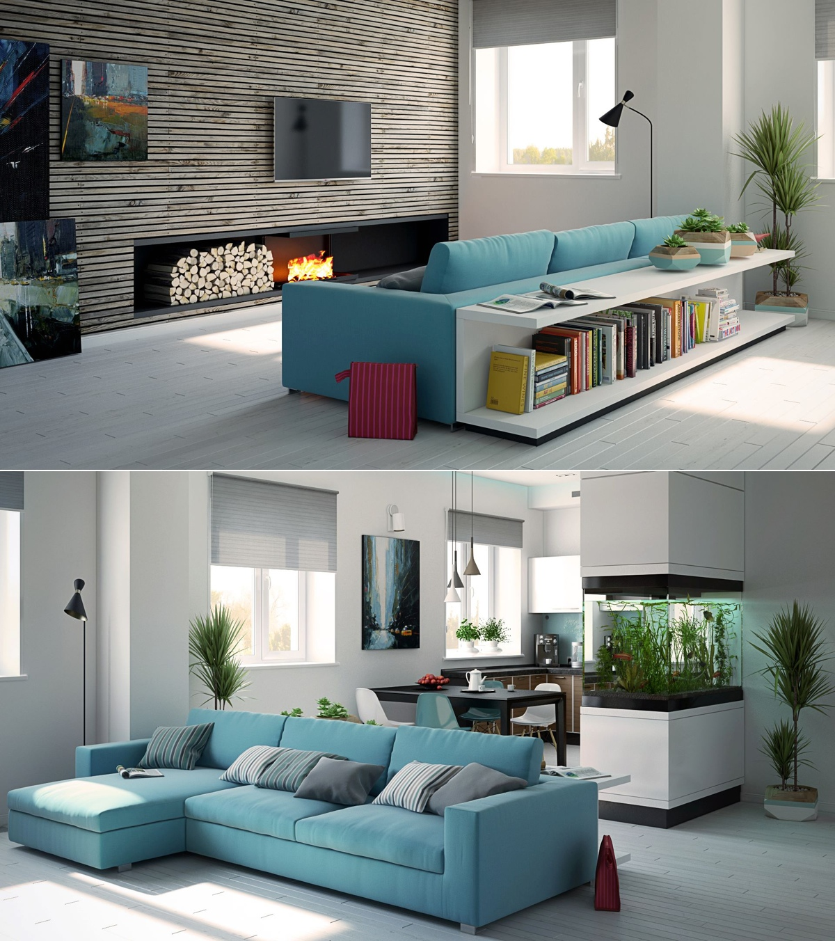 Awesomely stylish urban living rooms - Sofa azul turquesa ...