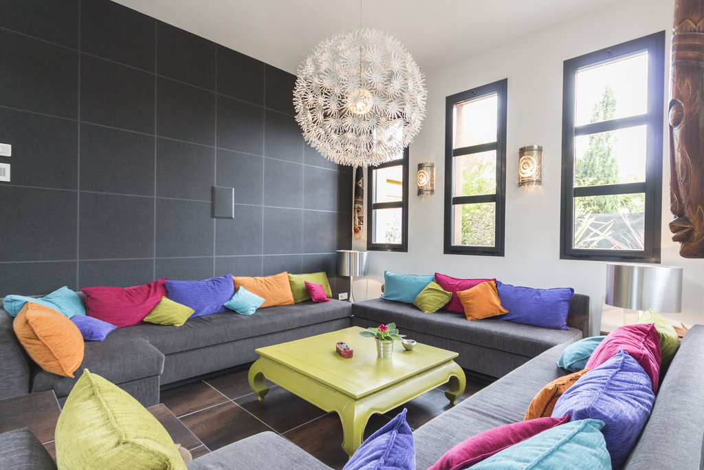 Gorgeous Seating Area - Contemporary villa with splashing colors and courtyard