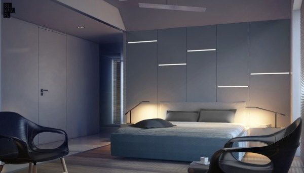A similar bedroom makes use of a little less space and features aerodynamic chairs and cool bedside lights.