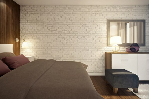 White brick with a dark gray duvet is sleek and chic.