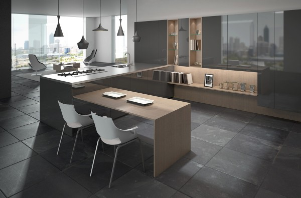 With a small breakfast area and plenty of cabinetry, this urban kitchen would be perfect for a couple.